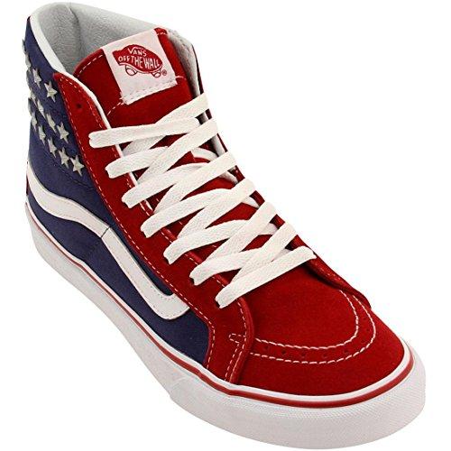 Vans Womens SK8 Hi Slim Studded Stars Textile Trainers Rouge/bleu