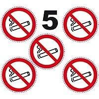 5 Autocollants ROND 10cm INTERDIT DE FUMER