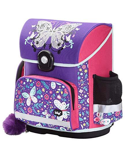 Baagl Schulranzen Mädchen 1. Klasse - Ergonomische Schultasche für Kinder - Grundschule Ranzen - Schulrucksack mit Brustgurt (Schmetterling)
