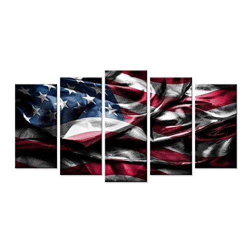 Hello Kunstwerk-USA American Flag gerahmt Leinwand Print Vintage Flaggen Bild Gemälde 5Panel Giclée-Artwork gespannt und gerahmt für Home Wand-Dekor Art Deco Large Size 60x32inch Mehrfarbig (Flag-bild American)
