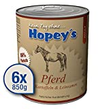 Hopey's Nassfutter Pferd mit Kartoffeln & Leinsamen: Hundefutter mit hohem Fleischanteil 6X 850g Dosen, 86% Fleisch