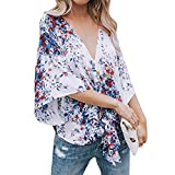 Damen Tops, Geili Frauen Aufflackernhülse Sexy V-Ausschnitt Bandage Krawatte Knoten Bluse Damenmode Print T-Shirt Bluse Tops