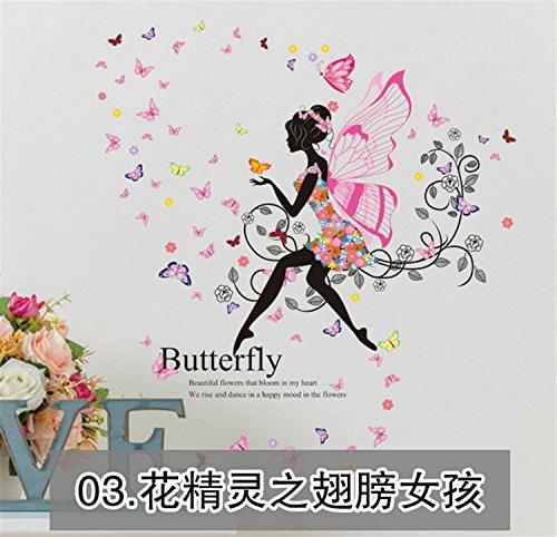 yanqiao Pastoral Hintergrund Flower Fairy Butterfly Girl Wandsticker Aufkleber für Wohnzimmer babyroom Kindergarten TV Hintergrund abnehmbar Vinyl Aufkleber Art Home Dekorieren Größe 145x 169,9cm - (Wallpaper Hintergründe Halloween Cute)