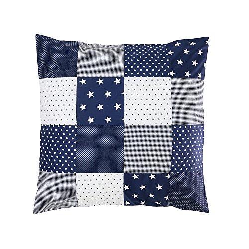 ULLENBOOM ® Baby Bettdeckenbezug 80x80 Blaue Sterne (auch als Kinderwagendecke, Stubenwagen Decke, Dekokissen geeignet, Motiv: Sterne, Patchwork) -