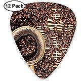 12-Pack Fashion Classic E-Gitarren Plektren Kaffeebohne Instrument Standard Bassgitarrist