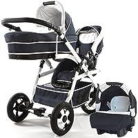 Carro doble (gemelar) niños diferentes edades. 2 sillas + 1 capazo + 1 portabebe + accesorios.