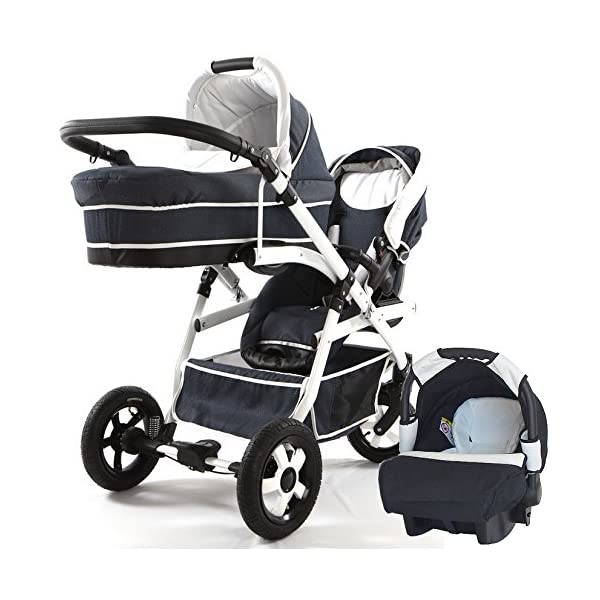 Double pram for twins. 2 carrycots + 2 buggies + 2 car seats + 2 ISOFIX bases. Jeans. BBtwin Berber Carlo Directly from the factory, warranty and advice. Made un the EU according to the regulations EN1888 and ECE44/04. Jeans+white, white chassis. Includes 2 carrycots, 2 buggy seats, 2 car seats, 2 ISOFIX bases, bag, 2 footcovers, 2 rain covers, 2 mosquito nets, lower basket Features: lightweight aluminium frame, easy bending, adjustable handlebar, central brake, lockable front swivel wheels, shock absorbers, each buggy can be instaled independently in both directions, carrycots with a mattress and a washable cover, backrest adjustable in various positions, safety bar and harness of 5 points 3