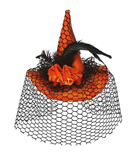 KarnevalsTeufel Hexenhut mit Clip in Orange für Erwachsene mit Netz und Rosen Halloween Haarschmuck Kopfbedeckung