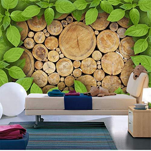 Guyuell Benutzerdefinierte Fototapete 3D Holz Stake Green Leaves Persönlichkeit Hintergrund 3D Wandgemälde Wand Wohnzimmer Restaurant Home Decor Tapete-350Cmx245Cm
