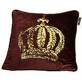GLÖÖCKLER by KBT Bettwaren 4001626021635 Zierkissen gefüllt braun mit goldener Pailletten Krone, 50 x 50 cm Samt