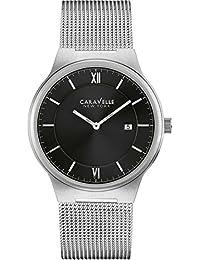 Caravelle New York Hombre Reloj de pulsera analógico cuarzo One Size, Negro, Plata