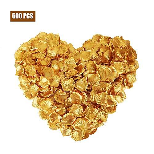 Motige, Petali di Rosa in Seta Artificiale, Petali di Rosa per Matrimonio, Decorazione per Feste, Gold, Oro