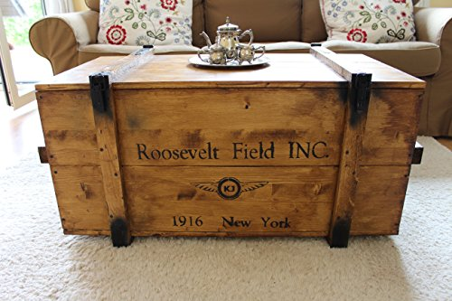 Uncle Joe´s Truhe Holzkiste Roosevelt Field, 98 x 55 x 48 cm, Holz, Hellbraun, Vintage, Shabby chic Couchtisch, braun, 98x55x48 cm - 2