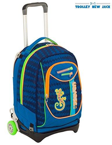 Trolley zaino scuola seven new jack gecko boy 2018 blu verde viaggio ragazzo + 30 penne glitterate omaggi