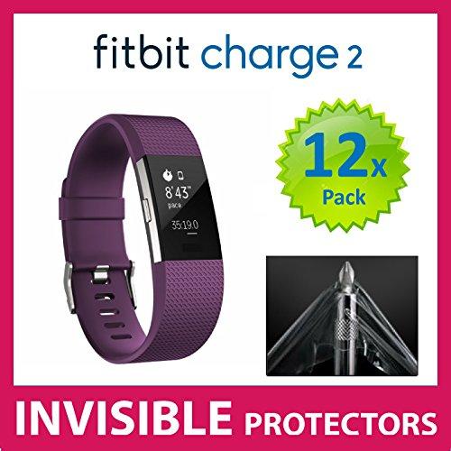 UNSICHTBARE Displayschutzfolie für Ihr Fitbit Charge 2 HR Fit Bit Watch x12 (Front) welche aus einem kratzfesten Material hergestellt wird