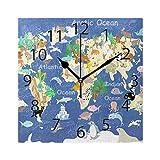 XiangHeFu Horloge Murale carrée 20,3 x 20,3 cm Motif Animaux du Monde Silencieux pour la Maison, Le Bureau, l'école