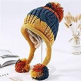 LLCP Las señoras Que cosen los Sombreros Hechos Punto, Las Bolas de Lana espesadas Protectores del oído calientan los Casquillos de los Deportes al Aire Libre Respirables Sombreros,A