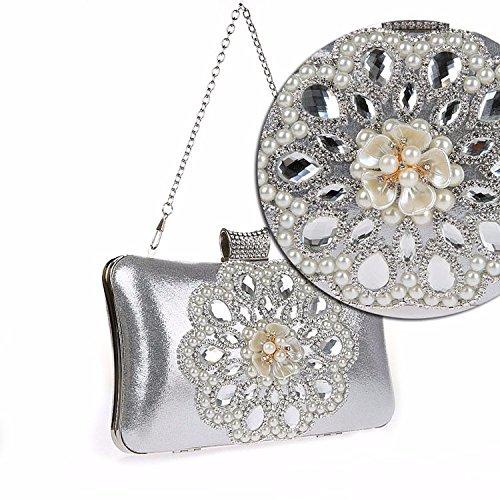 Pearl, Modisch, Exquisite, Diamond, Bankett - Tasche, Hand - Tasche silvery