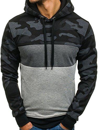 BOLF Herren Pullover mit Kapuze Sweatshirt Langarmshirt Sweatjacke Militär  Army Camo Muster 1A1 Schwarz XHP1002 3b222b20a6