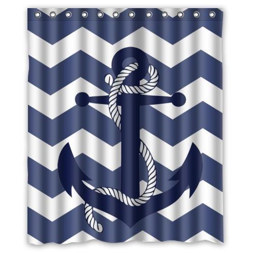 Chevron Pattern Grey White Waterproof Bathroom Fabric Shower ...