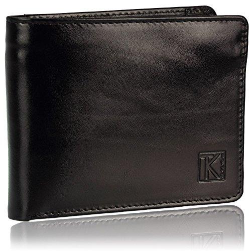 TK 1979 - ZIP - Portefeuille noir pour homme en cuir Italien 13 x 10 cm - Noir, Cuir