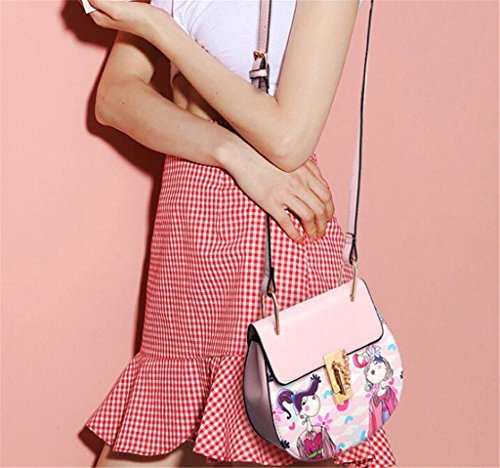 Great Strange Borse da donna Borse a tracolla Top Fashion Lock Buckle Singole spalle ragazze Shopping , pink pink