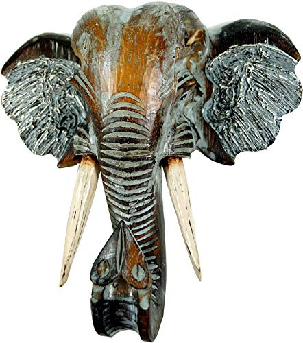 Guru-Shop Máscara Finamente Tallada, Cabeza de Elefante Decorada con Madera de Balsa, 30x32x12 cm, Máscaras