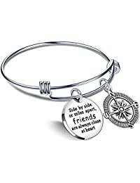 Best Friend Bracelet Friends are always close at heart BBF Bangle Compass Long Distance Friendship Gifts