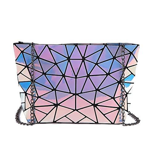 WYGmadlifeqq Frauen-Umhängetasche Koreanische Version der neuen Kettentasche Variety Lingge Laser Messenger Bag Einfache und praktische tragbare Messenger-Tasche (Color : 1, Size : M)