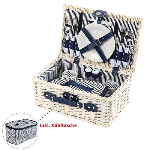 Picknickkorb mit Kühltasche, blau-weiß gestreift, Picknick-Set für 2 Personen, 17 Teile