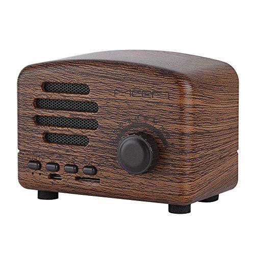 VBESTLIFE Tragbare Retro Bluetooth Lautsprecher,Desktop FM Radio Bass Stereo Holz Lautsprecher mit Mic,unterstüzt USB TF Karte[Rosenholz]