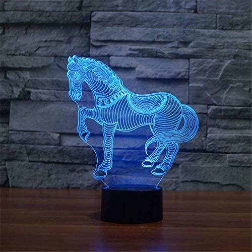 3D lampe,Taoyoyo 7 Farben Berührungssteuerung Zuhause Dekor Tischleuchte,Optische Illusion LED Nachtlampe USB Tischlampe, für Kinder Weihnachten Geburtstag beste Geschenk Spielzeug Nachtlicht (Pferd)