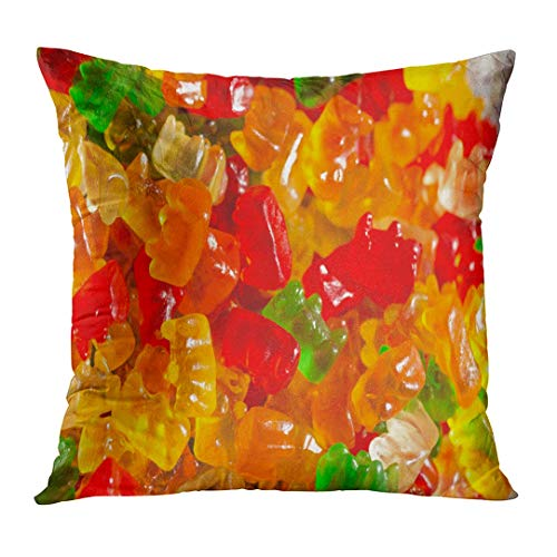 Cupsbags Throw Pillow Cover Colorful Assorted Gummy Bears Candy Green Baby Decorative Pillow Case Home Decor Square 18x18 Inches Pillowcase