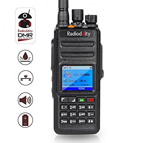 Radioddity * GD-55 Plus * 10W IP67 Waterproof UHF 400-470MHz 256CH 2800mAh DMR Digital Two Way Radio Walkie Talkie Ham Radio Compatible with Mototrbo Time Slot 2, with Free Programming Cable and 2 Antennas