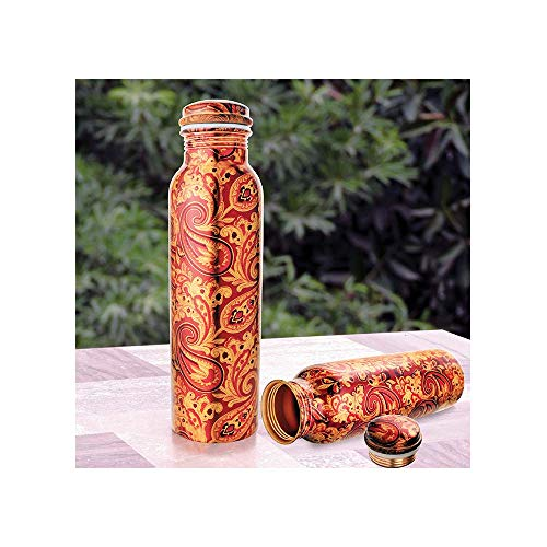 Ayurveda CopperTM| Combo Pack of Pure Copper Modern Art Printed and Outside Lacquer Coated Bottle, Travelling Purpose, Yoga Ayurveda Healing | 1000 Ml Set of 1 | (Design & Prints May Vary)