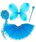 Tante Tina - Schmetterling Kostüm für Mädchen - 4-teiliges Set - Feenflügel / Schmetterlingsflügel Verkleiden - Blau mit Haarkranz