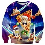 Bfustyle Mens-Galaxie-Pizza-Katze Sankt-Hut Hässliches WeihnachtsCrackneck-Sweatshirt-Pullover-Pullover