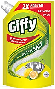 Giffy Lemon & Active Salt Concentrated Dish Wash Gel by Wipro, 900ml (Pack o