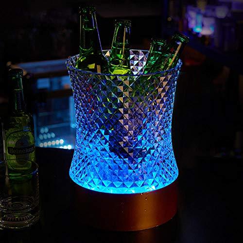 Velliceasay LED Charging Diamond Waist Acryl Bunte Beleuchtung, idealer Eiskübel für Partys - Der Getränkekühler der Wahl für Bier, Wein, Champagner, Prosecco, kleines buntes Positionslicht -