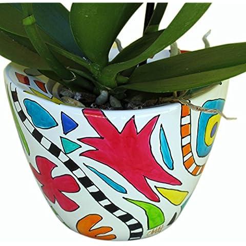 'onneke Van waardenburg' decorativo jarrón maceta o - de Porcelana Pintado a mano de flores de doble pared en - macetero en caja de regalo - ideal para boda, cumpleaños y