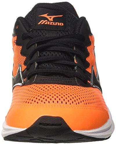 Mizuno  Wave Rider Jnr, chaussures de course Unisexe - enfant Multicolore (Clownfish/Black/Silver)
