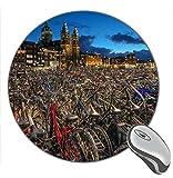 Not Applicable Tappetino per Mouse da Gioco Rotondo in Gomma con Stampa Notturna di Amsterdam, Molte Biciclette della Città