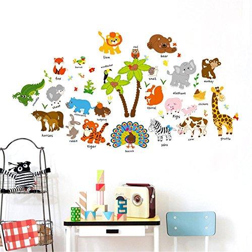 Wandtattoo Babyzimmer❤️Manadlian Kinderzimmer Wandtattoo DIY Tier Entfernbar Mauer Abziehbild Familie Zuhause Aufkleber Wandgemälde Kunst Zuhause Dekor (Mehrfarbig)
