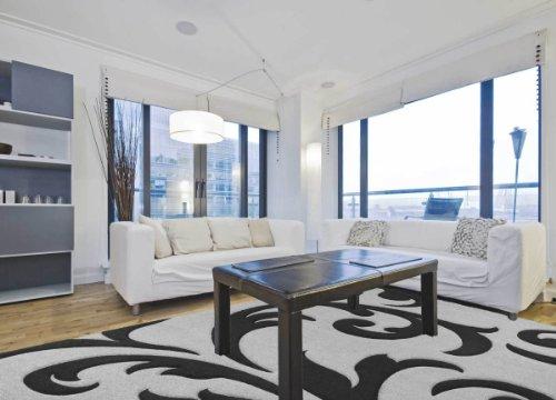 Elegant Designer Rug Pattern in Silver Black Grey Black 140 cm x 200 cm multicoloured