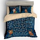 AShanlan Bettwäsche Weihnachtlich Hirsch 2 teilg 135cm x 200cm Bettbezug Bettgarnitur Bett Wäsche Set