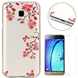 CaseHome Compatible for Samsung Galaxy J3 2016/J310 Coque Silicone de Gel, Clear Ultra Slim Transparente Antichoc Doux Protecteur TPU Mode Motif Housse-Fleur Rose Papillon