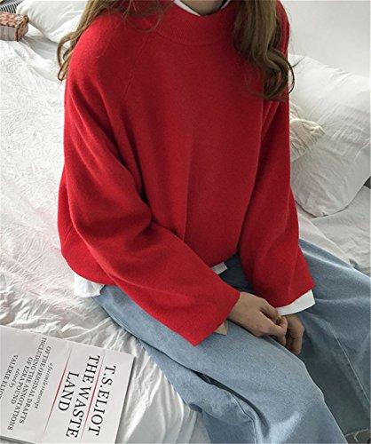 JOTHIN 2017 Donna Autunno Invernali Tinta Unita Relaxed Maglioni Ispessimento Girocollo Manica Lunga Sweatere Larghi Eleganti Fasciante Maglieria. Rosso
