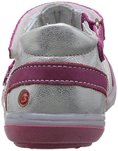 GBB Gilliane, Chaussures basses à scratch bébé fille Argent (11 Vte Argent/Fushia Dpf)