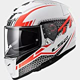 #9: LS2 Full Face Premium Helmet FF 390 SPLIT WHITE RED MATT (LARGE, PLAIN VISOR)