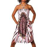 H112 Damen Sommer Aztec Bandeau Bunt Tuch Kleid Tuchkleid Strandkleid Neckholder, Farben:F-021_Rot;Größen:Einheitsgröße